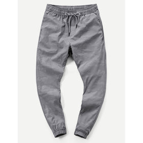 Men Plain Drawstring Tapered Pants