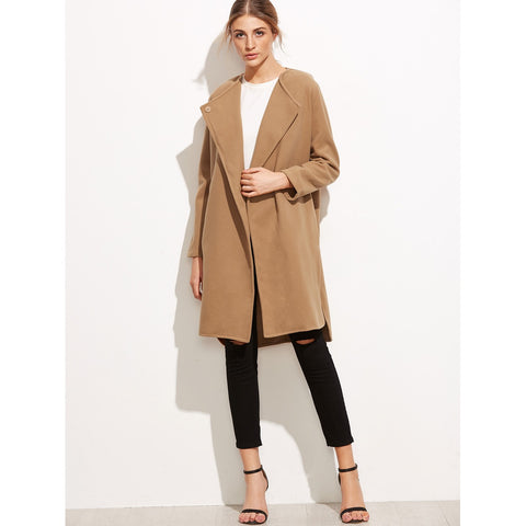 Khaki Slit Side Curved Hem Coat