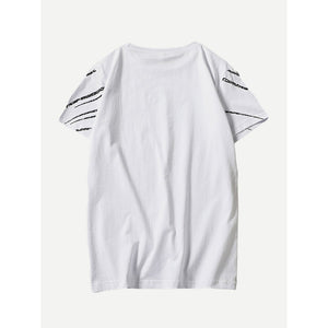 Men Abstract Line Print Tee