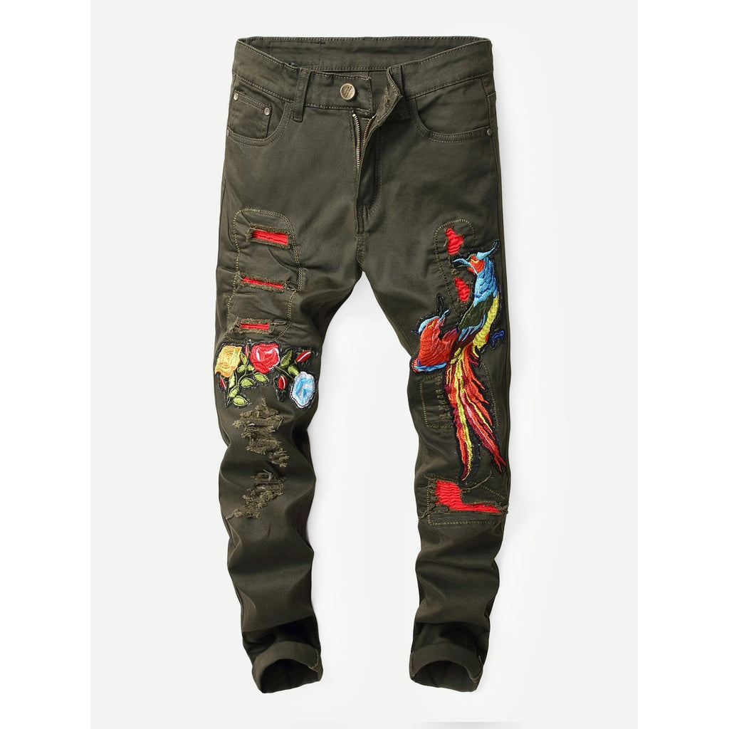 Men Embroidery Destroyed Jeans