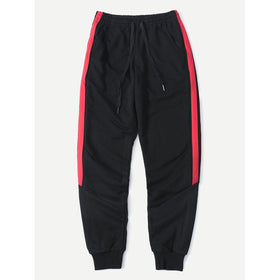Men Striped Side Drawstring Sporty Pants