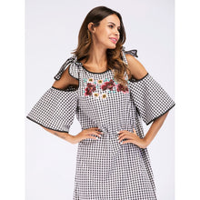 Floral Embroidered Self Tie Open Shoulder Plaid Dress