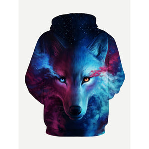 Men 3D Wolf Print Hooded Sweatshirt