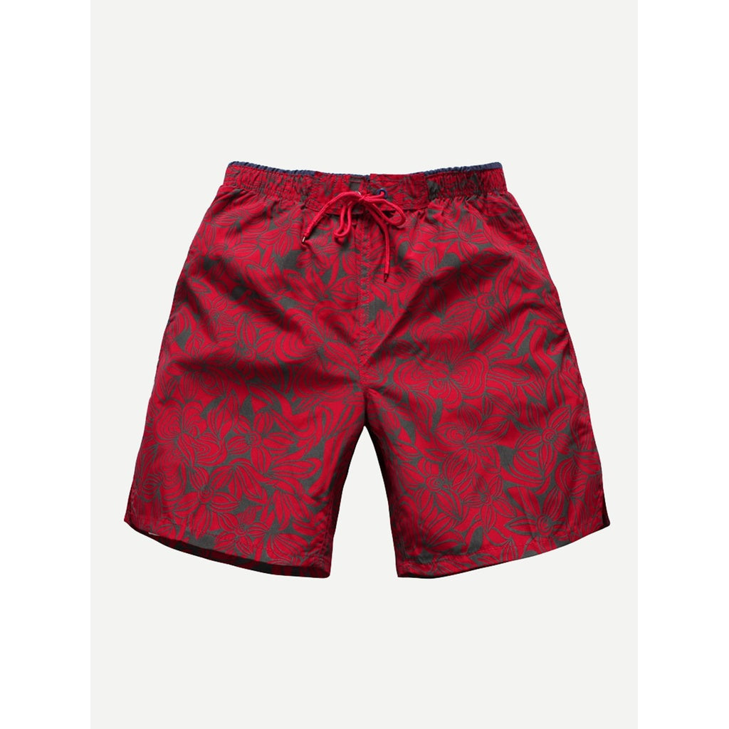 Men Drawstring Floral Print Beach Shorts