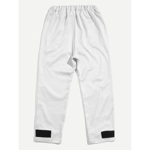 Men Striped Side Velcro Pants