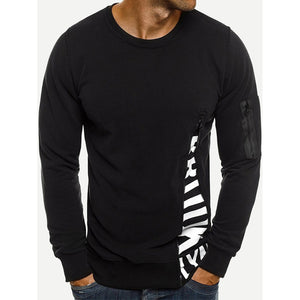Men Zip Decoration Letter Print Sweatshirt
