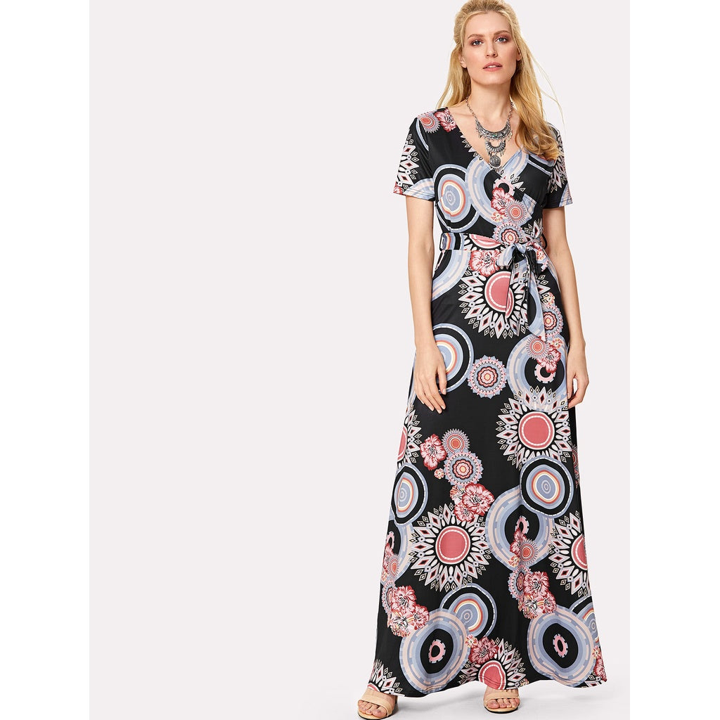 Geo Print Surplice Wrap Dress