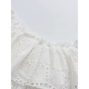 Eyelet Embroidered Ruffle Layered Dress