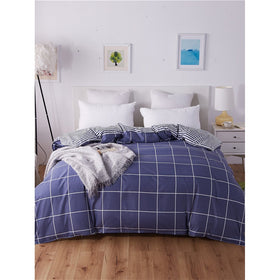 Plaid & Striped Print Duvet Cover