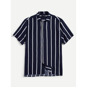 Men Vertical Stripe Button Up Shirt