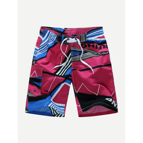 Men Drawstring Geo And Letter Print Beach Shorts