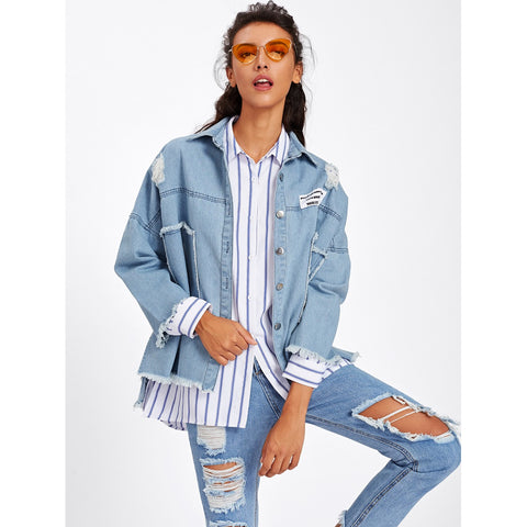 Frayed Trim Patch Back Distressed Jacket