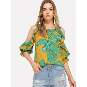 Tropical Print Open Shoulder Frill Trim Blouse