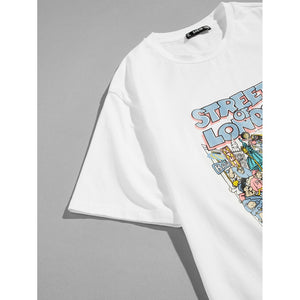 Men Letter and Cartoon Print Tee