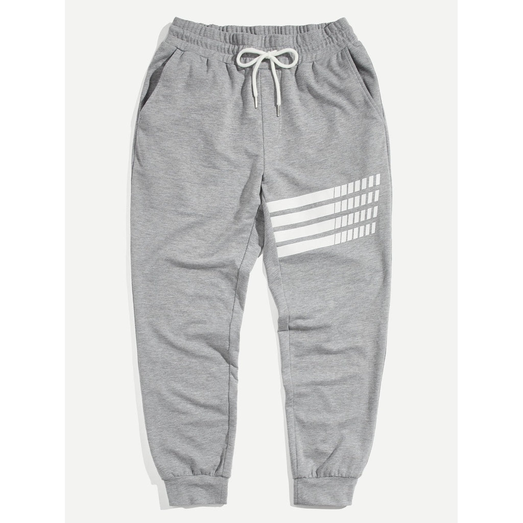 Men Drawstring Waist and Elastic Hem Sweat Pants