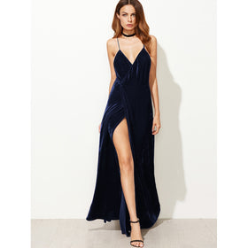 Strappy Backless Wrap Velvet Dress