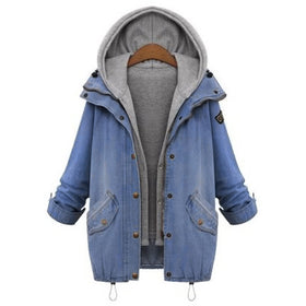 Hooded Drawstring Boyfriend Trends Jean Swish Pockets Two Piece Coat
