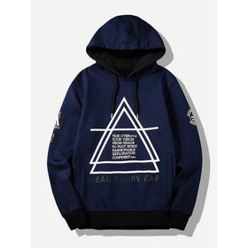 Men Letter And Geo Print Hooded Sweatshirt
