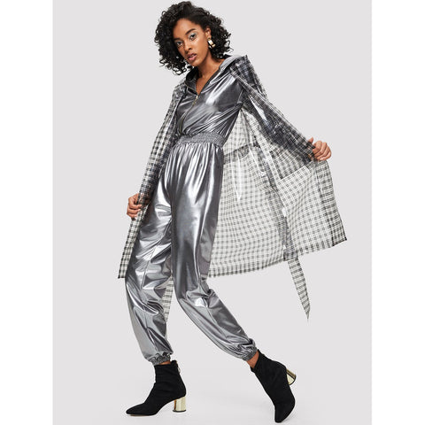 Pocket Front Plaid Waterproof Coat