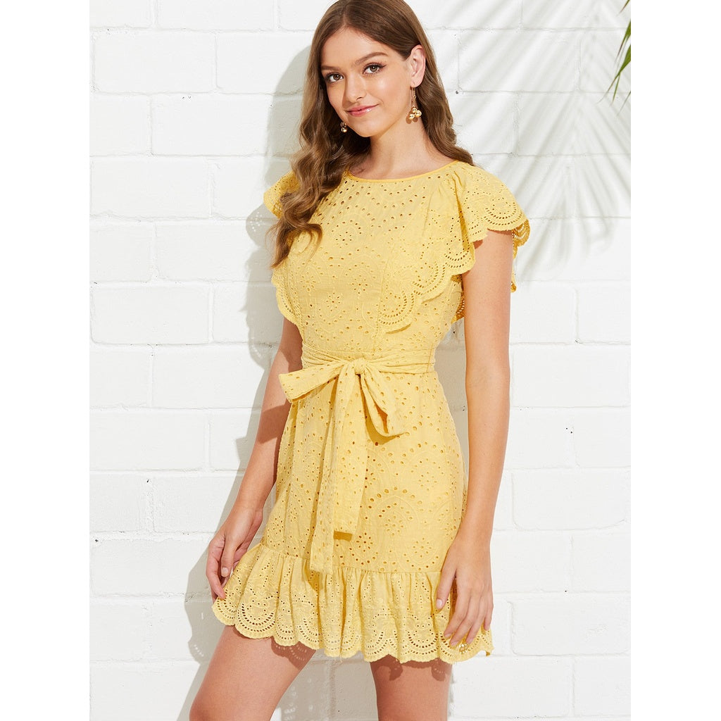 Split Back Eyelet Embroidered Ruffle Dress