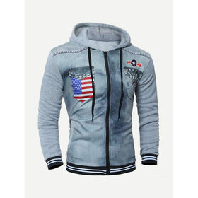 Men Flag Print Hooded Jacket