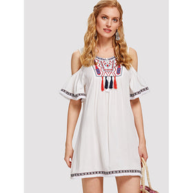 Embroidered Yoke Fringe Tape Detail Cold Shoulder Dress