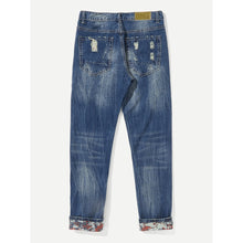 Men Distress Ripped Straight Jeans