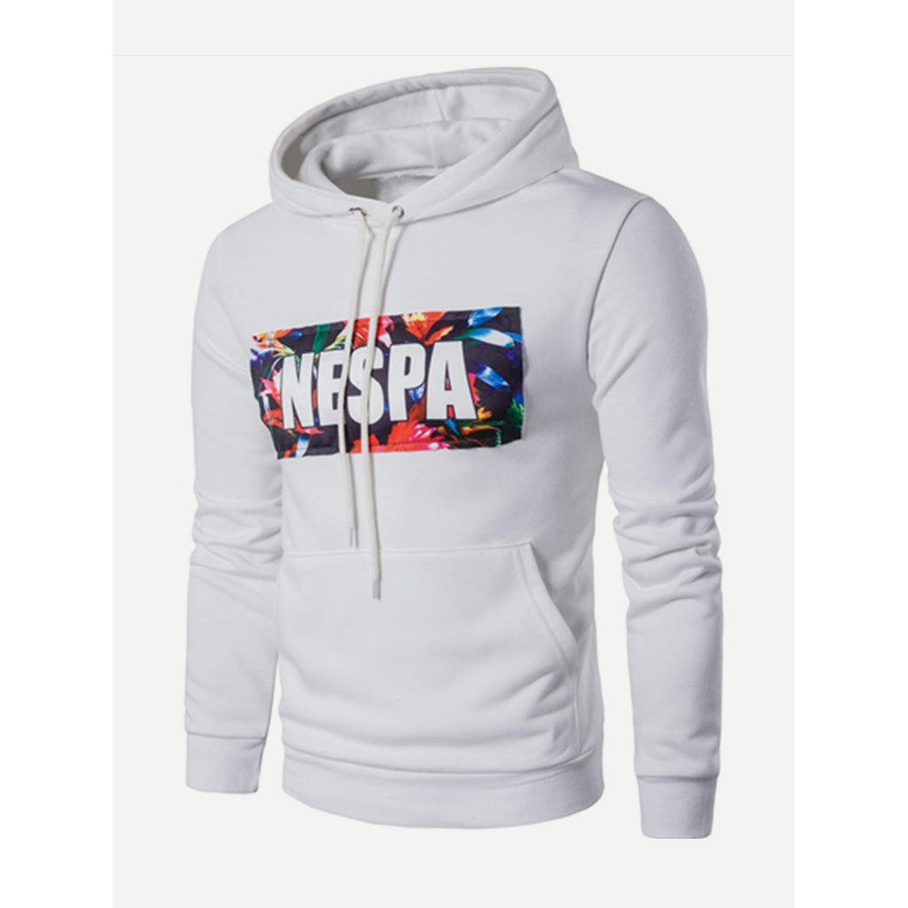 Men Patch Letter Print Hooded Sweatshirt