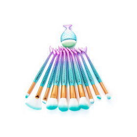 Ombre Mermaid Handle Makeup Brush Set 10pcs