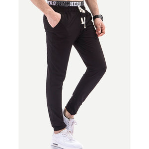 Men Plain Drawstring Pants