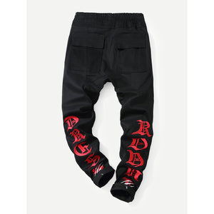 Men Letter Embroidery Drawstring Jeans
