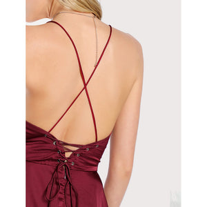 Crisscross Backless High Low Cami Dress