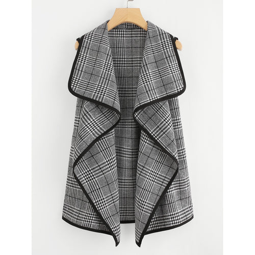 Contrast Binding Wales Check Waterfall Coat
