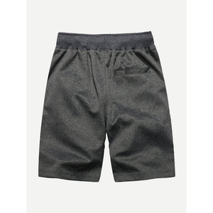 Men Panel Marled Drawstring Shorts
