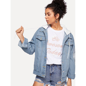 Letter Embroidered Detachable Hood Denim Jacket