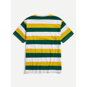Men Striped Round Neck Tunic Tee