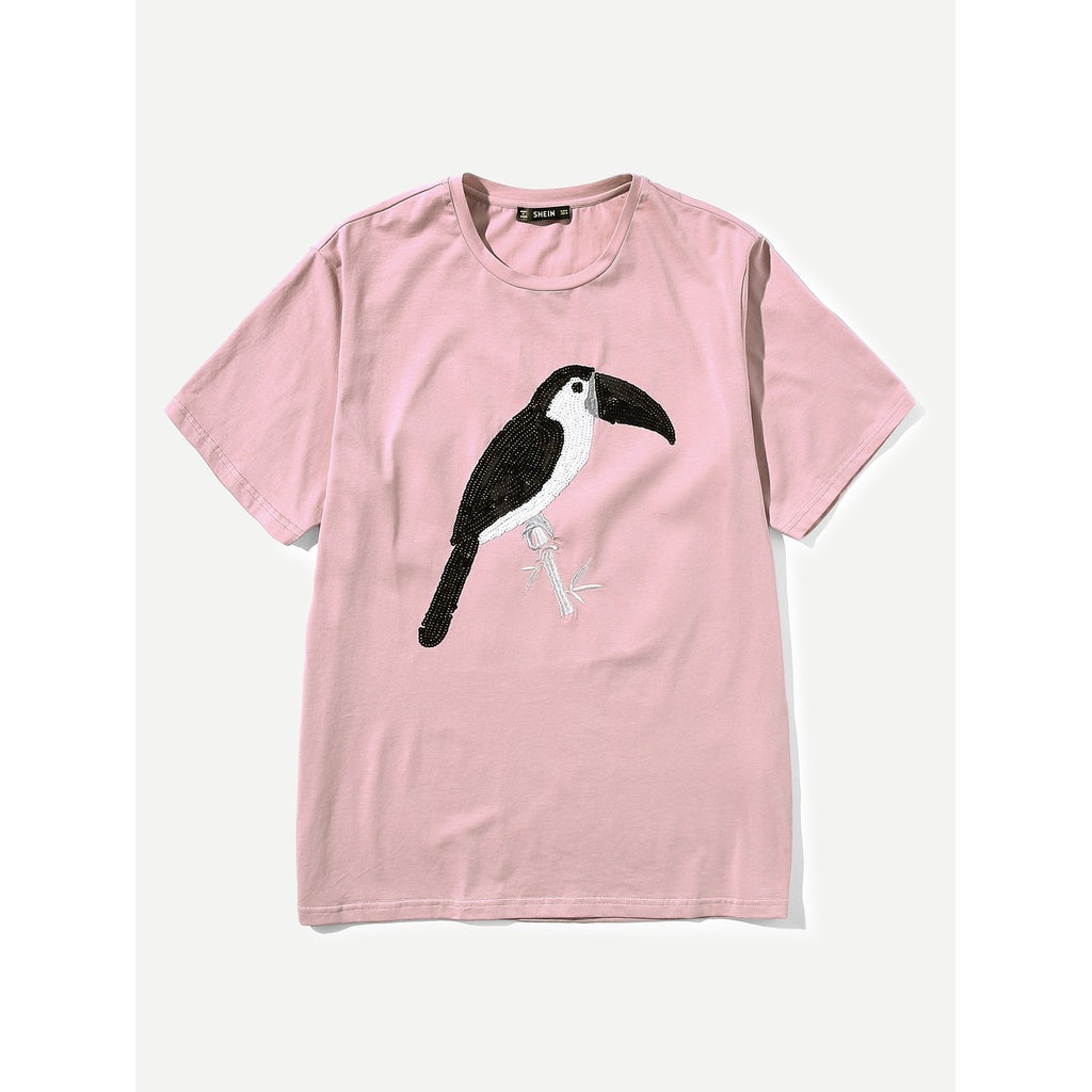 Men Embroidered Bird Print Tee