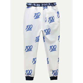 Men Number Print Drawstring Pants