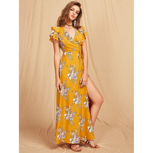 Flutter Sleeve Crisscross Back Surplice Wrap Botanical Dress