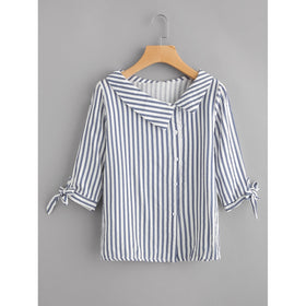 Vertical Striped Tie Cuff Blouse