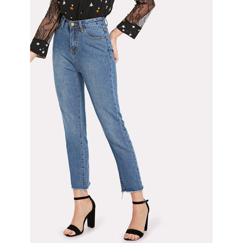 High Waist Raw Hem Jeans
