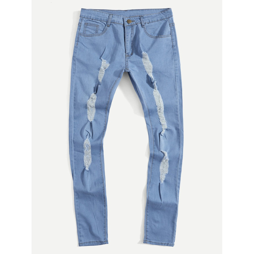 Men Plain Destroyed Skinny Jeans