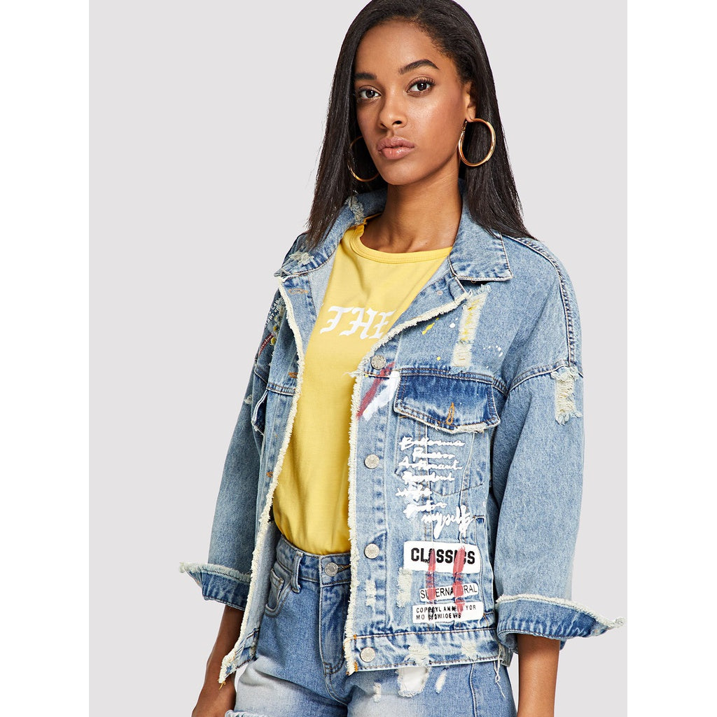 Letter Print Ripped Denim Jackets
