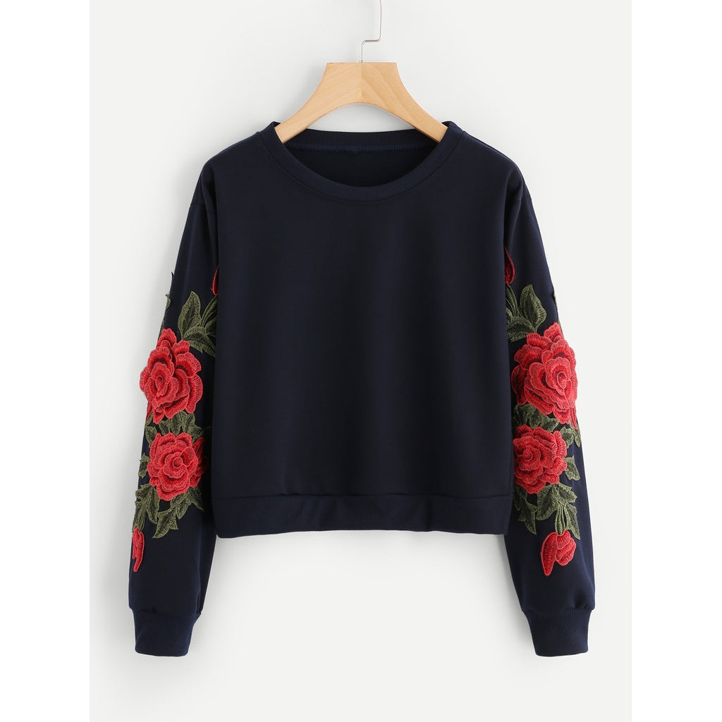 Rose Embroidered Applique Sleeve Sweatshirt