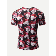 Men Rose And Skull Print Tee