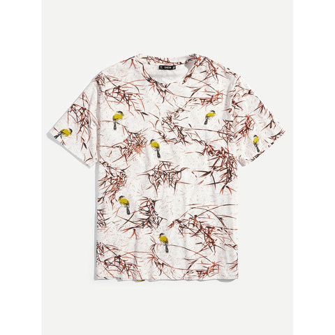Men Bird And Botanical Print Tee