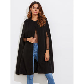 Wool Blend Cape Coat