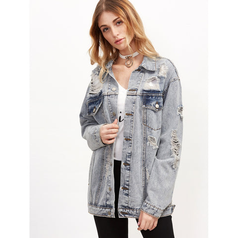 Grey Ripped Button Up Boyfriend Denim Jacket