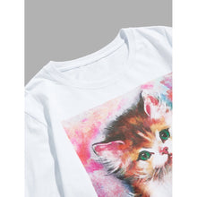 Men Cat And Letter Print Tee