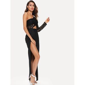 One Shoulder Cut Out Split Side Lace Dress